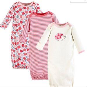 Pink Rosebud Organic Cotton Gown (Set of Three)